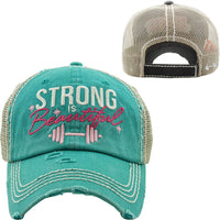 Turquoise Strong Is Beautiful Truckers Hat - BJS Country Charm