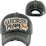 Horse Mom Baseball Hat Black Embroidered - BJS Country Charm