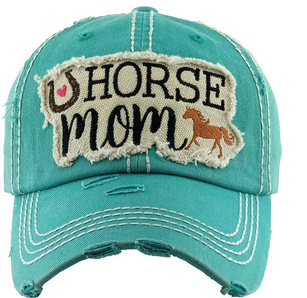 Horse Mom Baseball Hat Turquoise Embroidered - BJS Country Charm