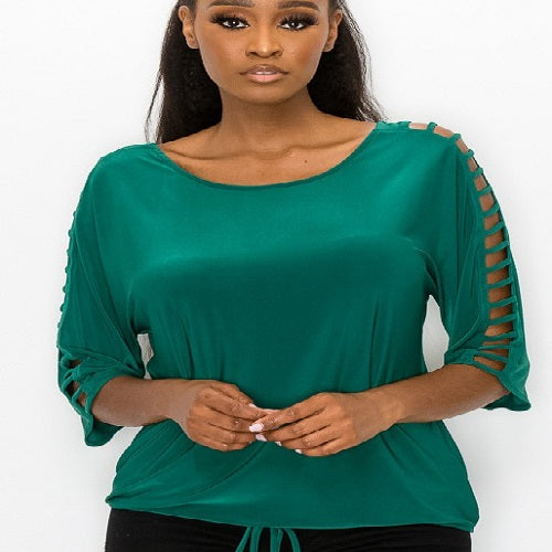 Ladder Cutout Sleeve Top