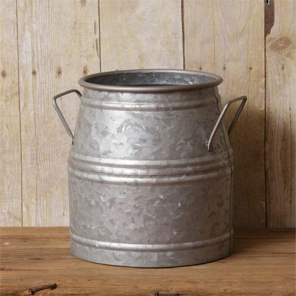 Primitive Farmhouse Galvanized Milk Can Bucket