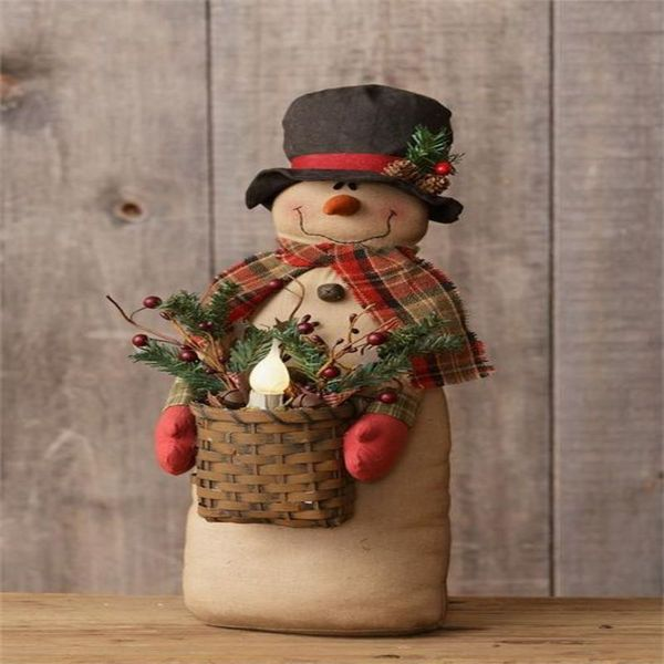 Large Country Primitive Christmas SNOWMAN w CANDLE BASKET