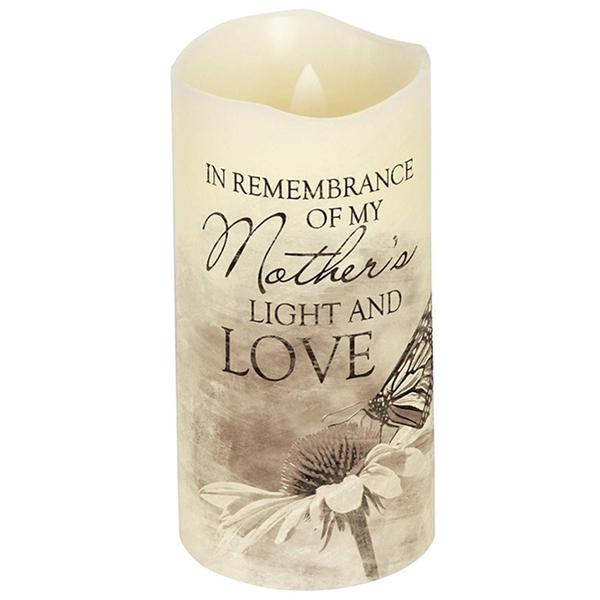 Led 6 hr Timer Bereavement Pillar Candle In Remembrance of Mother w Butterfly