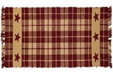 "Country Primitive Burgundy Farmhouse Star Table Runner 36"" - BJS Country Charm"