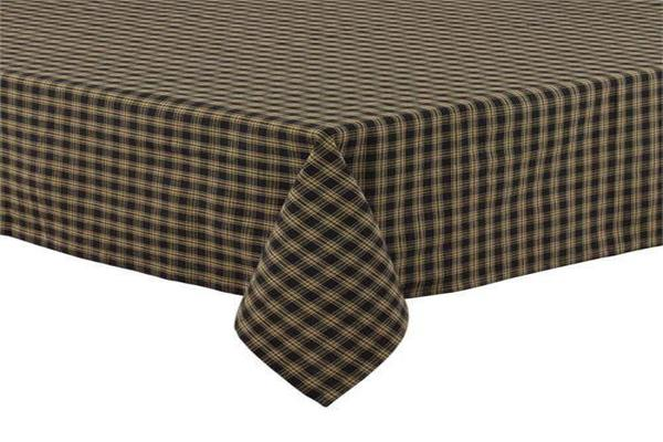 "Country Primitive Sturbridge Black Plaid Table Cloth Cover 60"" x 84"""