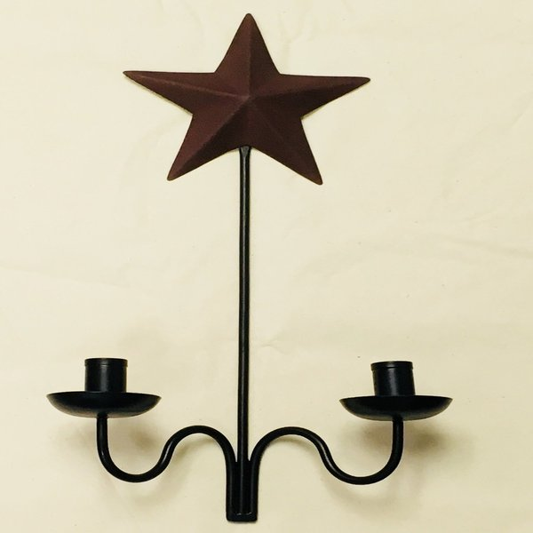 Burgundy Star Double Taper Candle Sconce - BJS Country Charm