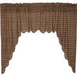 Country Primitive Prescott Brown Plaid Homespun Swags