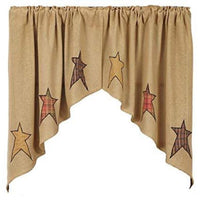 Country Primitive Stratton Burlap Applique Star Swags - BJS Country Charm