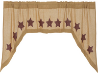 Rustic Country Primitive Burlap w Burgundy Star Swag Sets - BJS Country Charm