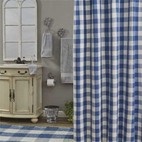 Wicklow Check Shower Curtain China Blue - BJS Country Charm