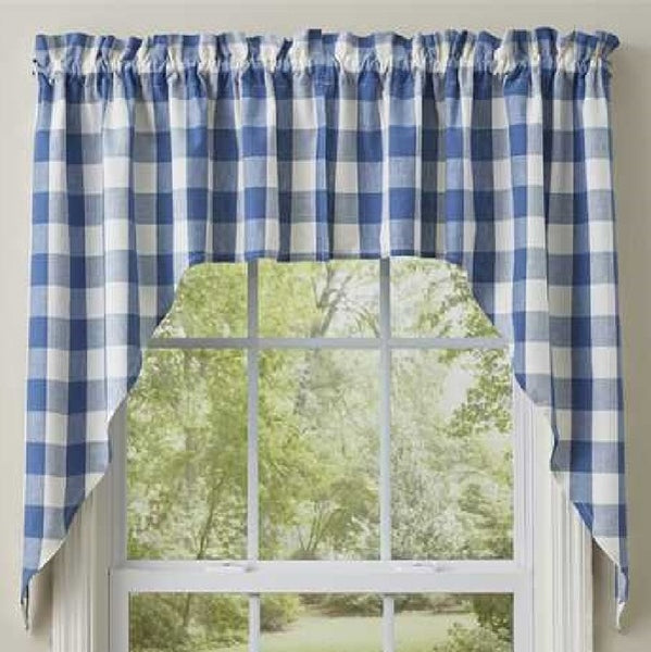 Wicklow Check China Blue Swags - BJS Country Charm