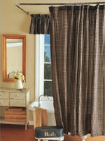 Country Primitive Black Plaid Homespun Shower Curtain - BJS Country Charm