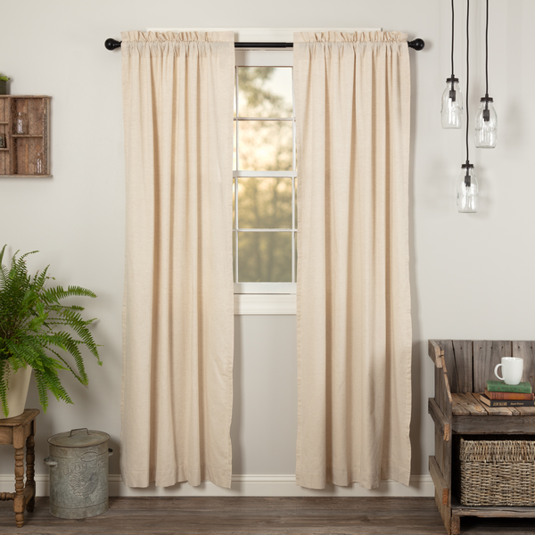 Country Farmhouse Solid Natural Flax Curtain Panel