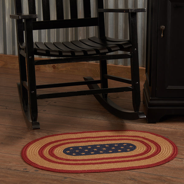 Country Primitive Liberty Stars Braided Jute Rug 20x30 Oval - BJS Country Charm