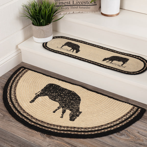 Country Farmhouse Sawyer Mill Cow Braided Jute Half Circle Rug Slice - BJS Country Charm