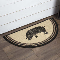 Country Farmhouse Sawyer Mill Pig Braided Jute Half Circle Rug Slice - BJS Country Charm