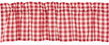 Country Farmhouse Red and White Check Valance