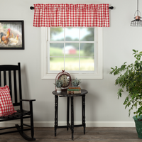 Country Farmhouse Annie Red and White Check Valance