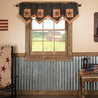 Country Primitive Patriotic Patch Star Block Valance Pleated - BJS Country Charm
