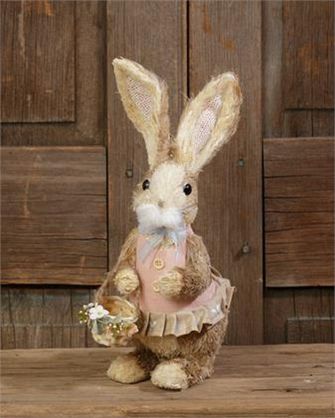 Country Primitive Farmhouse Girl Sisal Easter Bunny With Basket
