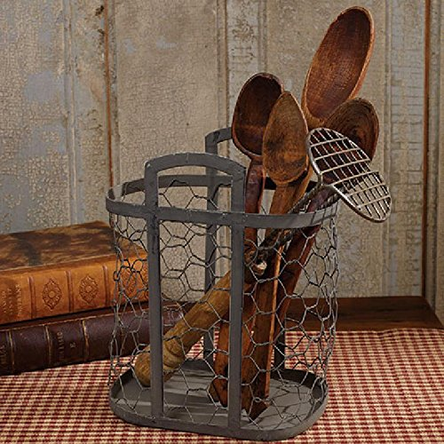 Chicke Wire Utensils Holder Country Primitive Farmhouse Kitchen Decor