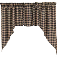 Rustic Country Primitive Bingham Star Black and Red Plaid Homespun Swags