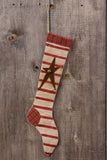 Large Country Primitive Christmas Stocking with Star
