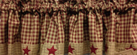 Country Primitive Burgundy Homespun Star Valance - BJS Country Charm