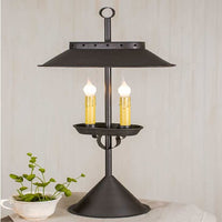 Large Double Candle Desk Lamp Rustic Brown - BJS Country Charm