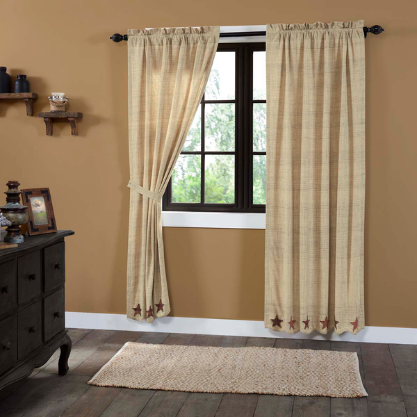 Rustic Western Country Primitive Abilene Star Curtain Panels - BJS Country Charm