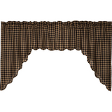 Rustic Country Primitive Black Check Scalloped Swags