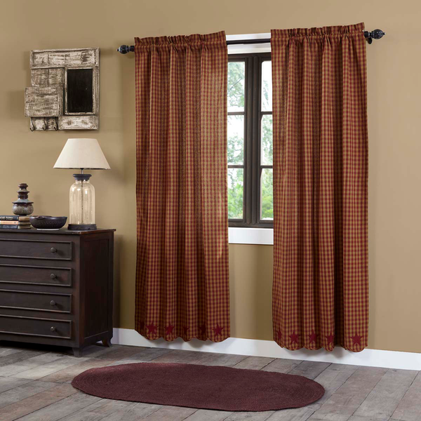 Primitive Burgundy Star Scalloped Curtains - BJS Country Charm