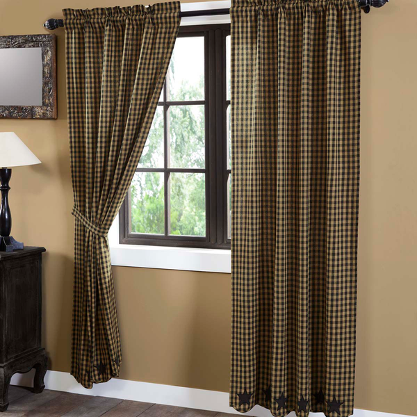 Black Star Scalloped Curtain Panels