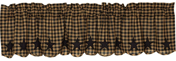 Country Primitive Black Star Scalloped Homespun Valance