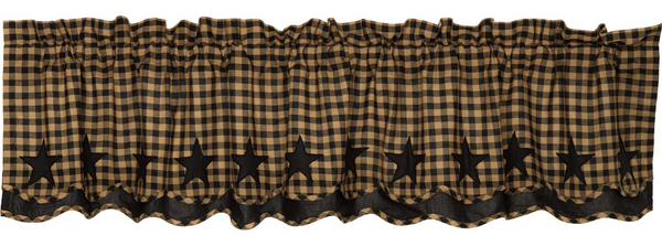 Country Primitive Black Star Scalloped Layered Homespun Valance
