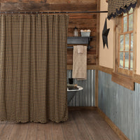 Black Check Scalloped Shower Curtain - BJS Country Charm