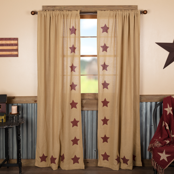 Primitive Burlap with Burgundy Stencil Stars Country Curtain Panels - BJS Country Charm
