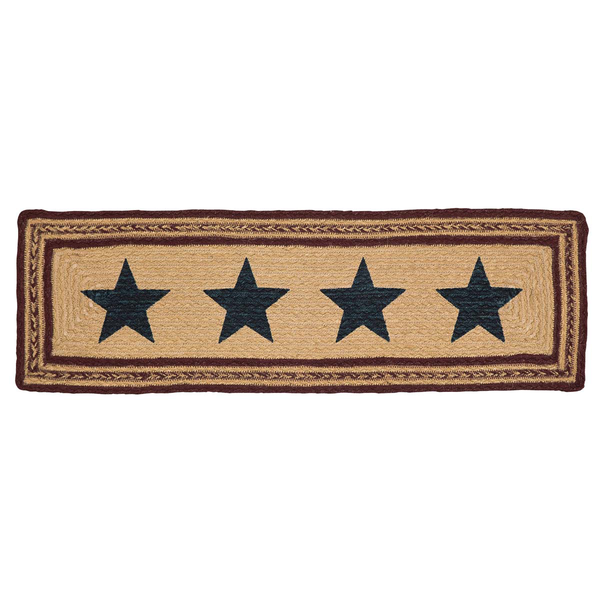 "Primitive Potomac Star Braided Table Runner 27"" Rectangle - BJS Country Charm"