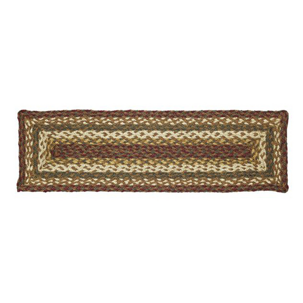 "Tea Cabin Braided Jute Stair Tread 27"" Rectangle - BJS Country Charm"
