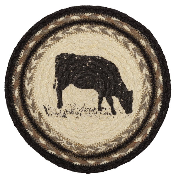 "Sawyer Mill Cow Braided Jute Trivet 8"" - BJS Country Charm"
