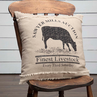 Sawyer Mill Charcoal Cow Pillow 18x18