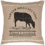 Sawyer Mill Charcoal Cow Pillow 18x18 - BJS Country Charm