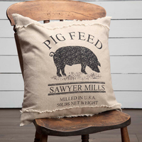 Sawyer Mill Charcoal Pig Pillow 18x18 - BJS Country Charm