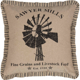 Sawyer Mill Charcoal Windmill Pillow 18x18 - BJS Country Charm