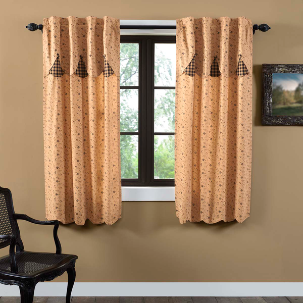 Country Primitive Maisie Curtain Panels with Attached Scalloped Layered Valance - BJS Country Charm