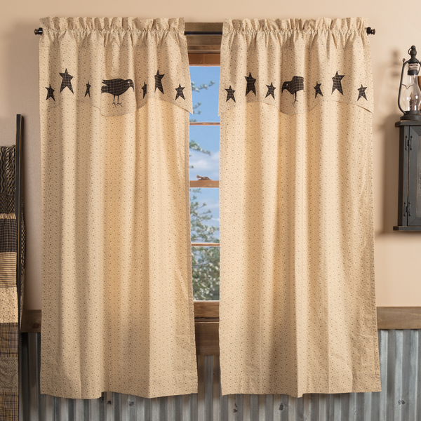 Country Primitive Kettle Grove Curtain Panel with Attached Valance Crow and Star - BJS Country Charm