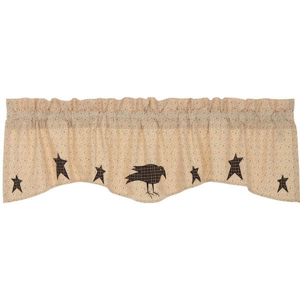 Primitive Kettle Grove Appliqued Valance Crow and Stars