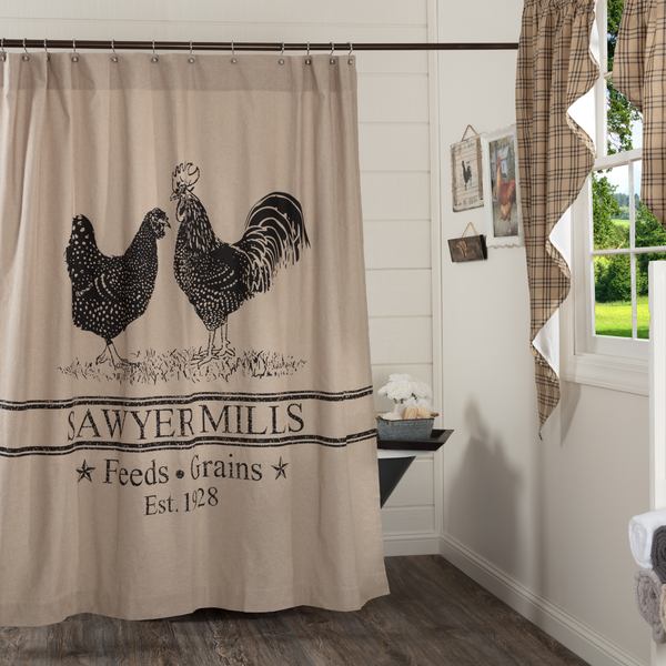 Sawyer Mill Charcoal Poultry Shower Curtain 72x72 - BJS Country Charm