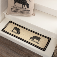 Country Farmhouse Cow Braided Runner