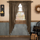 Black Check Scalloped Prairie Swags - BJS Country Charm